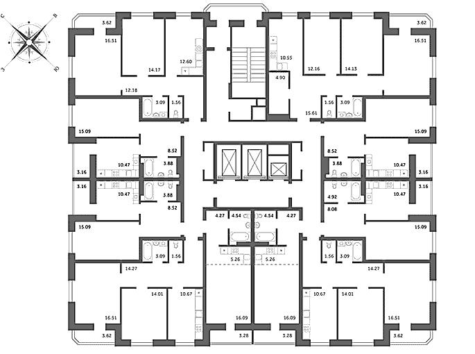 Оловозаводская 13/3 типовой этаж