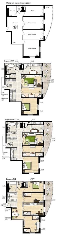 Планировка 3-комнатной квартиры площадью 94 кв.м