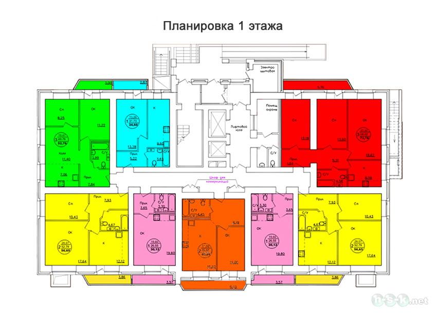 Лазурная, 32 (28/2 стр), общий план этажа