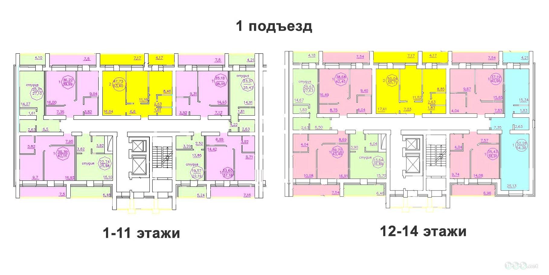 Титова, 253/3 стр (дом №3), общий план этажа