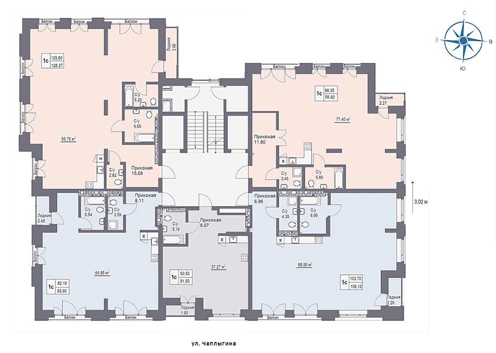 Чаплыгина, 115, общий план этажа