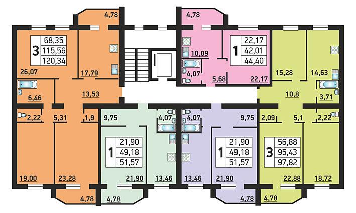 Серафимовича, 8 (4/1 стр), общий план этажа