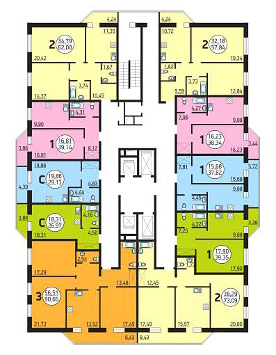 Семьи Шамшиных, 55 (57 стр), общий план этажа