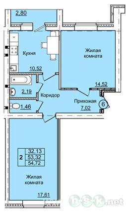 Петухова, 6/4, 6/5, 6/6 стр, планировки 2-комнатных квартир