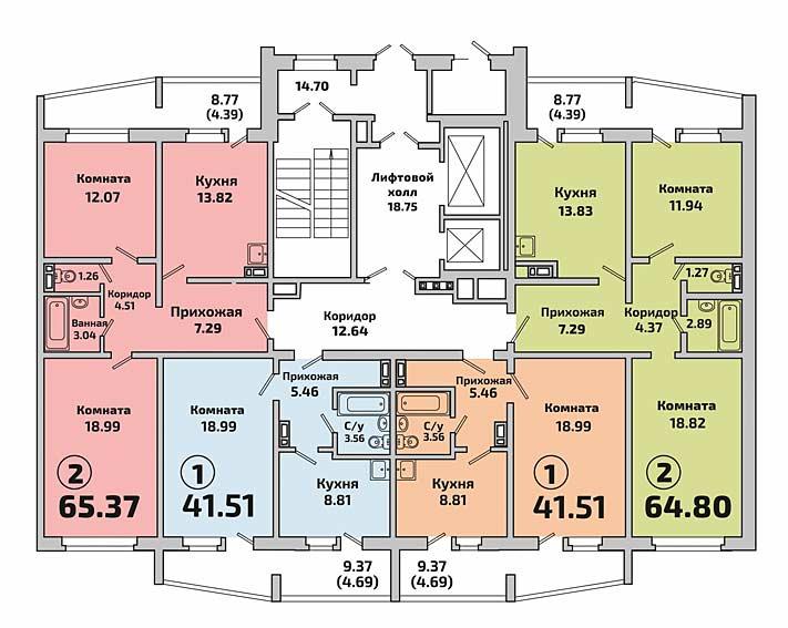 Родники, 601 (Мясниковой, 41), общий план этажа