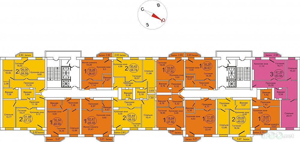 Вилюйская, 11 стр (Вилюйская, 9), общий план этажа